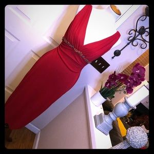David Meister Red Beaded Waist Detail Red Gown